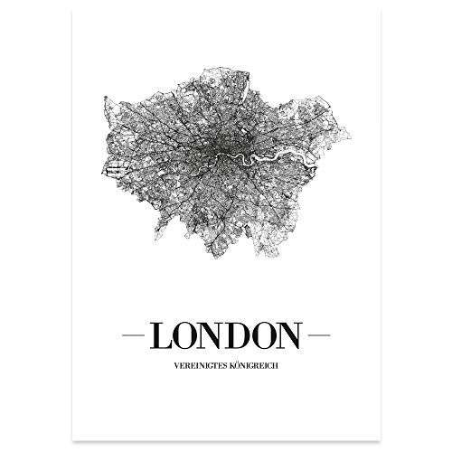 JUNIWORDS Stadtposter, London, Wähle eine Größe, 30 x 40 cm, Poster, Schrift A, Weiß