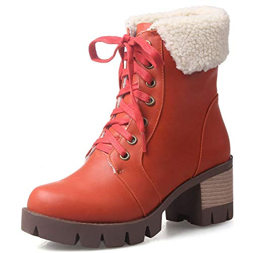 (DecoStain Women's Classic Platform Snow Boots Lace-Up Stacked Heel Winter Warm Ankle Boots)