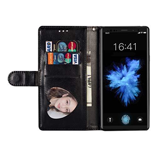 Coque Samsung Galaxy Note 9, Housse en Cuir LaVibe PU Leather Etui Portefeuille à Rabat Glitter Clapet Support Fermeture éclair Porte Video Stand, Flip Wallet Protective Case Cover–Noir