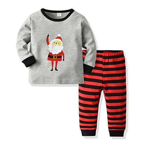 Amphia - Unisex Baby Zweiteiliger Schlafanzug,Pyjama für Weihnachten - Baumwolle Lange Nachtwäsche - Kleinkind scherzt Baby-Jungen-Karikatur-Pyjama-Spitze + Streifen Hosen-Weihnachtskleidung