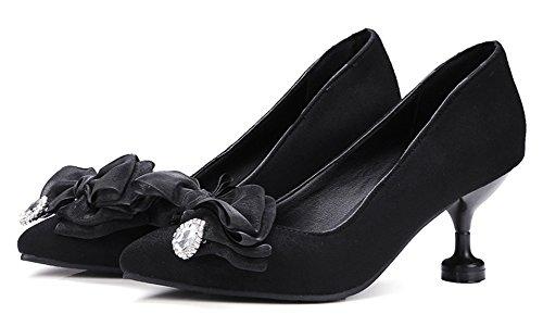 Aisun Femme Mode Nœud Papillon Talon Aiguille Escarpins Noir