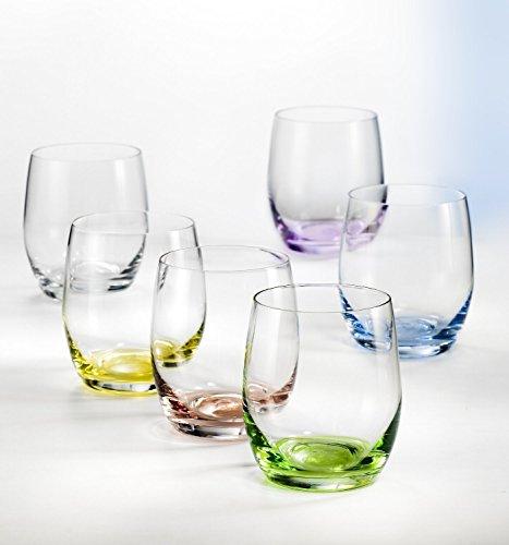 Bohemia Kristall Wassergläser Rainbow 300 ml, 6 - Set, Bunt Sortiert