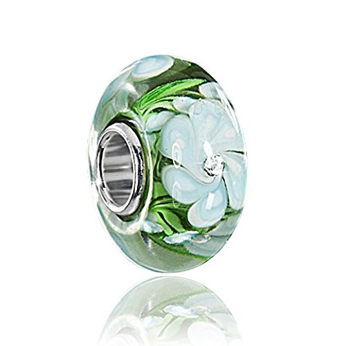 MATERIA Muranoglas Beads Anhänger Silber 925 FÄCHERBLUME mit Zirkonia grün weiß für Beads Armband #1219