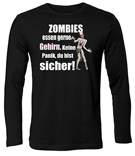 Zombies Essen gerne Gehirn 5127 Halloween Kostüm Herren Longsleeve Langarm Männer Fun Shirt Lustig Spruch Tshirt Geburtstag Geschenk Schwarz S