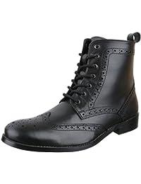 Ital-Design Stiefeletten Herren Leder Schuhe Chelsea Boots Blockabsatz  Schnürer Schnürsenkel Boots bc89b8d571