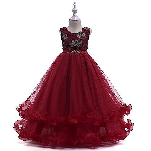 Bademode Mädchen Schulterfrei Bowknot Kleid Spitze Mesh Blumenmädchen Hochzeit Kostüm Leistungskleidung 3-13 Jahre Bikinis (Color : Red Wine, Size : 6-7Years) (Red Xiii Kostüm)