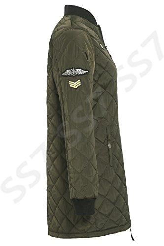 SS7 Damen Langleine MA1 Gepolstert Gesteppte Bomberjacke, Größen eu 36-44 Khaki