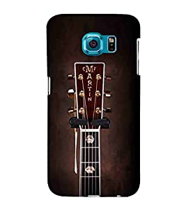 For Samsung Galaxy S6 Edge :: Samsung Galaxy S6 Edge G925 :: Samsung Galaxy S6 Edge G925I G9250 G925A G925F G925FQ G925K G925L G925S G925T brown guitar ( guitar, nice guitar, black background, music, music guitar ) Printed Designer Back Case Cover By Living Fill