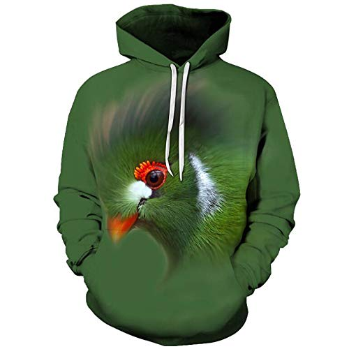 JKYQ Owl 3D Prints Pullover Slim Fit Hoodies Jumpers Breathable Sweatshirts with Pockets for Mens Couple Hoodies Purple Green,Green,XL - Pocket Jumper