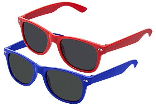 Boolavard TM Nerd Sonnenbrille im Stil Retro Vintage Unisex Brille - Boolavard® TM (2 Paare Rot + Blau Tönung)