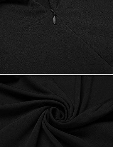 ACEVOG Damen Elegante Minikleider Sommer Ärmellose A Linie Kleider Tank Skaterkleid Jerseykleid Faltenrock (Gelb,Schwarz,Blau) Schwarz