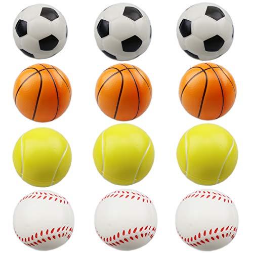 eugball, Basketball Fußball Fußball Tennis Stressabbau Ball für Kinder und Erwachsene Neuheit Spielzeug für Party Lieferung von Farbe und Stil (12pcs Squishy Ball) ()