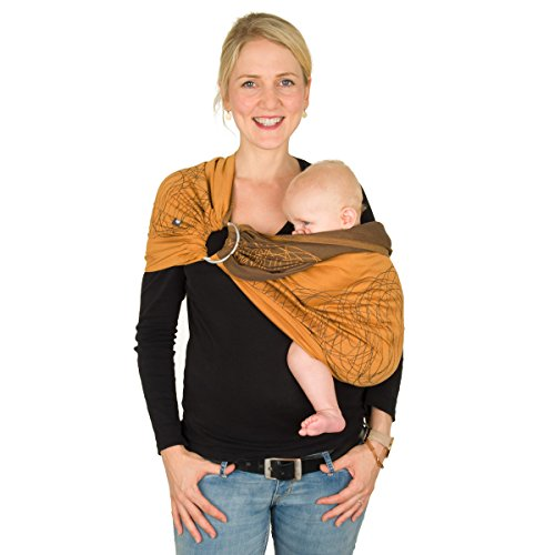 HOPPEDIZ Ring-Sling inklusive Bindeanleitung, New York mocca - orange Ring Moc