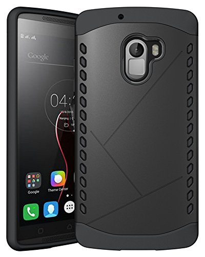 Heartly Hybrid Slim Dual Layer Hard Rugged Armor Bumper Back Case Cover For Lenovo K4 Note - Rugged Black
