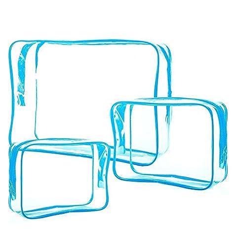 Cdet 3PCS Paquet de stockage transparent en PVC épais Trousse de maquillage Etanche Sac Pliable Sangle d'Epaule Storage Bag/Travel Packing