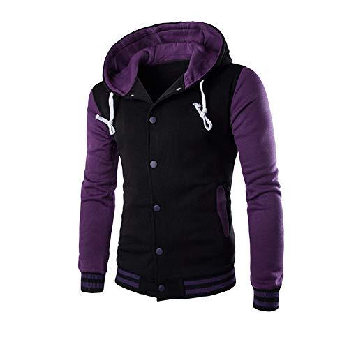 MORCHAN Manteau pour Hommes Veste Outwear Pull Hiver Slim Sweat à Capuche Chaud(X-Large,Violet)
