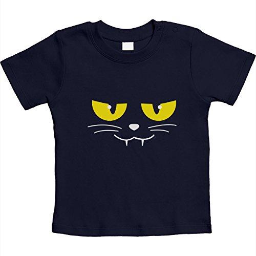 Katzen Gesicht Gruselig Halloween Karneval Kostüm Unisex Baby T-Shirt Gr. 66-93 12-18 Monate / 86 (18 Kostüm Katze 12 Monat)