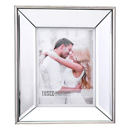 5X7-Zoll-Bilderrahmen - Frontabdeckung aus hochauflösendem Glas - Anzeigebild 4X6 mit Passepartout oder 5X7 ohne Passepartout für Tischdisplay und Wandmontage, Fotorahmen mit abgeschrägtem Spiegel