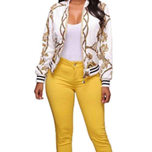 Minzhi Bomber da donna con stampa overcoat vintage oro catena con colletto a manica lunga con stampa floreale bianca