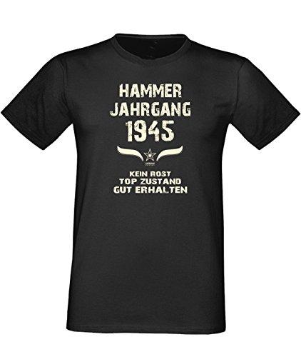 Sprüche Fun T-Shirt Jubiläums-Geschenk zum 72. Geburtstag Hammer Jahrgang 1945 Farbe: schwarz blau rot grün braun auch in Übergrößen 3XL, 4XL, 5XL schwarz-01