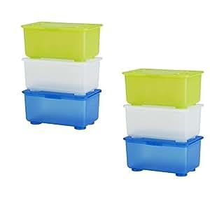 6 x ikea glis kleine kunststoff aufbewahrungsboxen mit deckel wei hellgr n blau 6 st ck. Black Bedroom Furniture Sets. Home Design Ideas