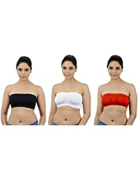 Ishita Fashions Tube Bra Seamless Strapless Bandeau Top (Black, White, Red) - 3 PCs Combo