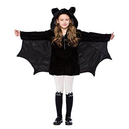 Dreamworldeu Kinder Fledermaus Kostüm Schwarz Fledermäuse Overall für Halloween Fasching Fastnacht Party (Molkerei Mädchen Kostüm)