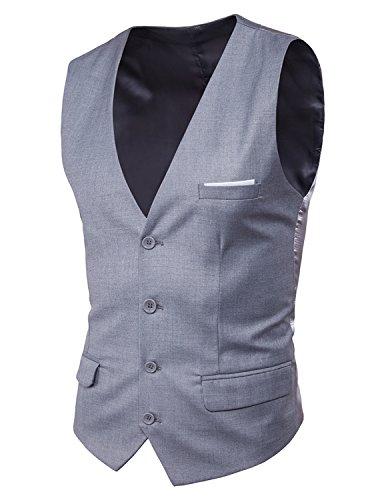 Boom Fashion Mode Gilet Veston Veste Costume Sans Manches Slim fit Homme Mariage,Gris 1,EU M(Buste:40.9 pouces/104cm)