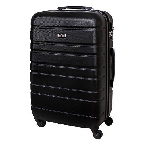 XL Hartschalen Reise Koffer Urlaub Reisen Trolley Trolly TSA Schloss 80 Liter Schwarz 815 B
