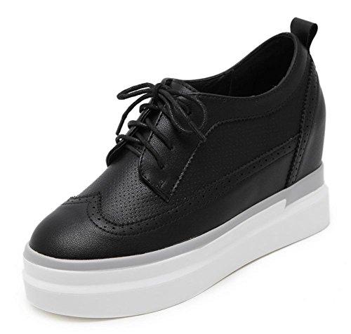 Trifle mit schweren Boden Schuhe Schuhe in den höheren Frau Frühling und Herbst Schuhe tief Mund sondern Schuhe Black