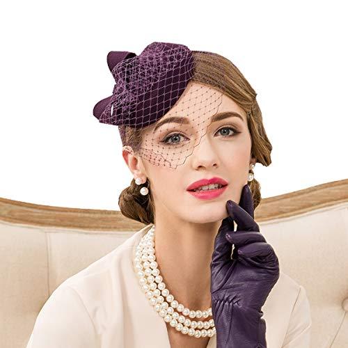 Nosterappou Petit Chapeau élégant et Exquis pour Banquet, Chapeau avec décoration à la Main, Chapeau de Mode pour Femme