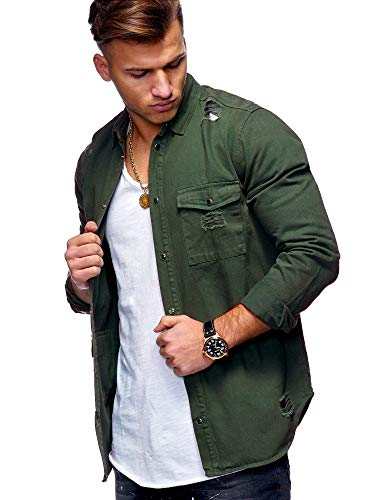 rm Destroyed Jeans-Hemd Denim Freizeit-Hemd Shirt 90-8715 Khaki M ()