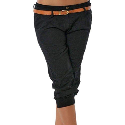 ffc592300 ShallGood Pantalones Capri para Mujer Pantalones Baggy Moda Color Sólido  Chino Casual Shorts 3/4 Boyfriend Cintura Elástica Yoga Pantalones Cortos  ...