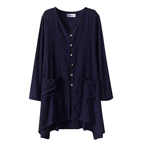Camicia lunga da donna gordon q, in lino, chiusura con bottoni, taglia grande blu navy