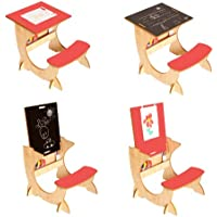 Preisvergleich für Little Helper ASI01-2 - 4-in-1 Wooden ArtStation Infant Desk, Blackboard und Reversible Easel, 24m+, natural/rot