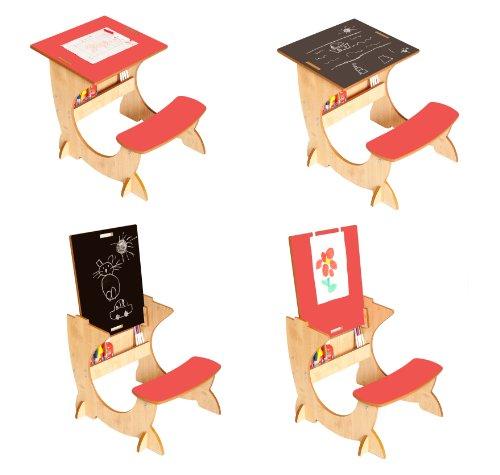 Little Helper - Pupitre Infantil 4 en 1 (de 3 a 6 años, Incluye Pizarra y Caballete), Color Rojo