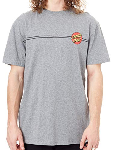 Santa Cruz Dark Heather Og Classic Dot T-Shirt (Large, Grau) - Dot Herren T-shirt