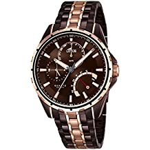 Para hombre reloj infantil de cuarzo con de loto marrón esfera analógica y dos correa de acero inoxidable de color plateado y dorado 18206/1