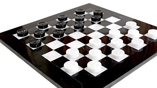 Radicaln Checkers Schachspiel 12 Zoll Schwarz und Weiß Handgefertigter Marmor 2 Spieler Entwürfe Coffee Checker Spiel-Nicht-chinesischer Nicht-Kunststoff-Quadratischer Tisch Schach Checker Board Game (Checkers Board Spiel)