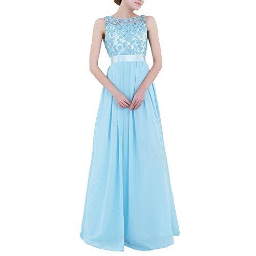 NALATI Damen Abendkleid Chiffon Cocktailkleid Bodenlang Spitzenkleid Brautjungfernkleid Lang Festlich Hochzeit Partykleid Elegant Maxikleid Blau