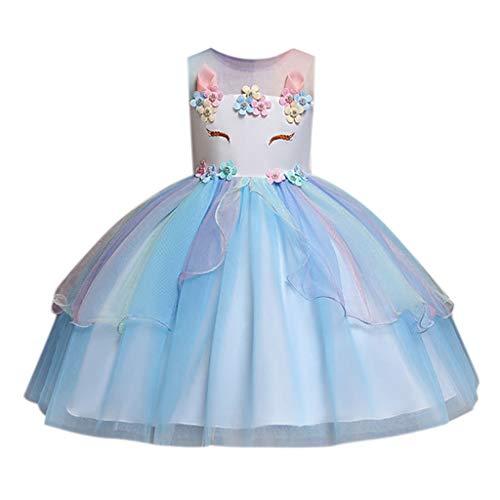 feiXIANG Kleinkind Prinzessin Kleid , festlich Lange Brautjungfern Blumenmädchen Dresses Party Tüll Tutu Kleider Baby Festzug Kaninchen Abendkleid (B/Blau,150) (Die Kleinkind Unglaublichen Kostüme)