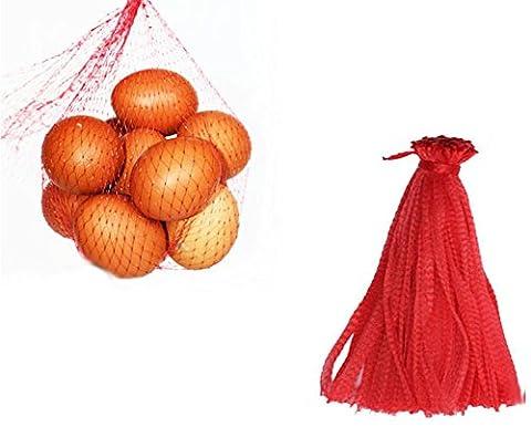 Stonges 200pcs 33cm Sac en maille filet Sac réutilisable en nylon Jouets Fruits Légumes Poly Sacs de rangement avec cordon