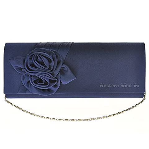 Wocharm Womens Fashion Satin Rose Bouquet Pattern Dinner Banquet Bag Wedding Evening Prom Party Clutch Bag Handbag (Navy
