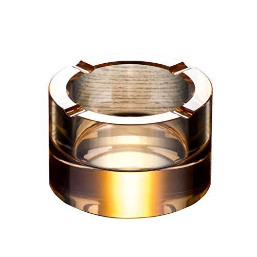 HLJ Kreative Startseite Glas Aschenbecher Runde Kristall Aschenbecher europäischen Stil Wohnzimmer Persönlichkeit Aschenbecher (Color : Gold)
