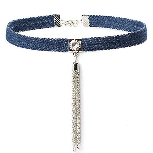 weimay moda vaquero Gargantilla Collar Conjunto Clásico Gótico tatuaje collar para las mujeres Ladies–1pieza, Silver Tassel, Silver Tassel