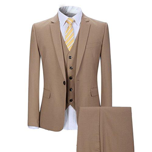 YOUTHUP Slim Fit 3 Teilig Business Hochzeit Herren Anzug Smoking Beige(1 Knopf)