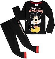 Disney Mickey Mouse Pijama Niño, Pijamas Niños 100% Algodon, Conjunto Pijama Niño Invierno de Manga Larga, Reg