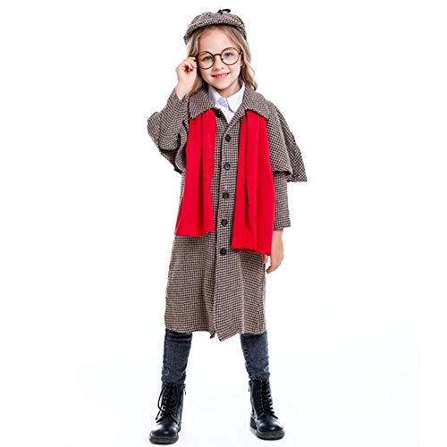 Lhlxs Große Detektiv Sherlock Holmes Kostüm Cosplay Mädchen Halloween-Kostüm für Kinder Karneval Fancy Dress Up Anzug,S