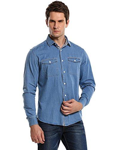 Burlady Jeanshemden Herren Langarm Denim Hemden Freizeit Shirts Regular Fit Hemden (L, Skyblau-43)