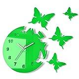 Große moderne Wanduhr Schmetterling Grün rund 30cm, 3d DIY, Wohnzimmer, Schlafzimmer, Kinderzimmer
